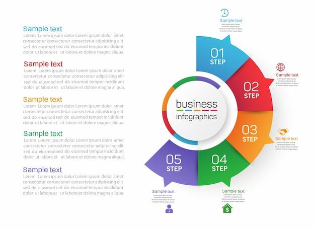 Cirkelvorm zakelijke infographics sjabloon met 5 stappen