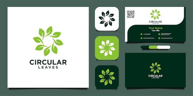 Cirkelvormig bladlogo-ontwerp en visitekaartje