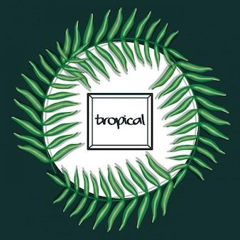 Cirkelvormig frame met tropische bladeren