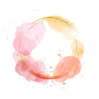 Cirkelvormig gouden frame in aquarelstijl