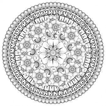 Cirkelvormig patroon in de vorm van een mandala met bloem voor henna, mehndi, tatoeage, decoratie. mehndi bloemdecoratie in etnische oosterse, indiase stijl.
