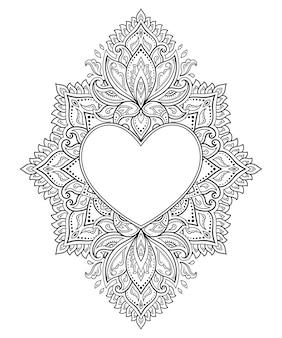 Cirkelvormig patroon in de vorm van een mandala met frame in de vorm van een hart. decoratief ornament in etnische oosterse mehndi-stijl.