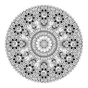 Cirkelvormig patroon in de vorm van mandala met bloem. decoratief ornament in etnische oosterse stijl kleurplaat