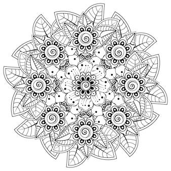 Cirkelvormig patroon in de vorm van mandala met bloem voor henna, mehndi, decoratie. decoratief ornament in etnische oosterse stijl. kleurboek pagina.