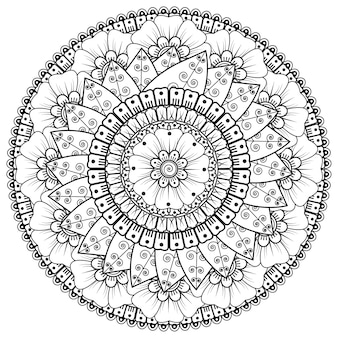 Cirkelvormig patroon in de vorm van mandala met bloem voor henna, mehndi, tatoeage, decoratie. decoratief ornament in etnische oosterse stijl. kleurboek pagina.