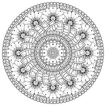 Cirkelvormig patroon in de vorm van mandala met bloem voor henna, mehndi, tatoeage, decoratie. decoratief ornament in etnische oosterse stijl. kleurboek pagina. Premium Vector
