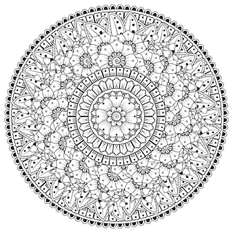 Cirkelvormig patroon in de vorm van mandala met bloem voor henna, mehndi, tatoeage, decoratie. decoratief ornament in etnische oosterse stijl.