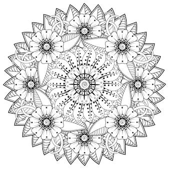 Cirkelvormig patroon in de vorm van mandala met bloem voor henna mehndi