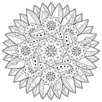 Cirkelvormig patroon in de vorm van mandala met bloem