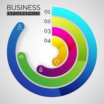 Cirkelvormige infographic-balken met informatie