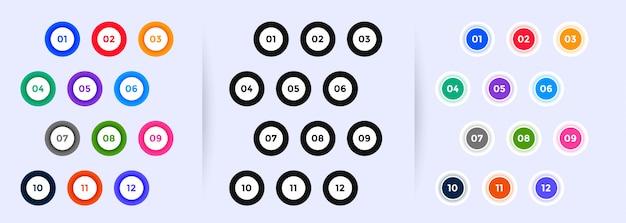 Cirkelvormige opsommingstekens duiden cijfers aan van één tot twaalf Gratis Vector