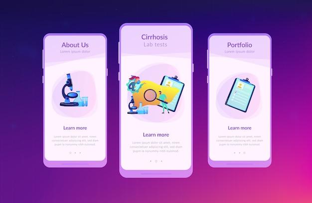 Cirrose app interface sjabloon.