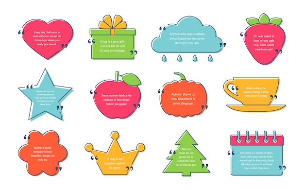 Citaat box frame. citaten van sjabloonteksten. kleur illustratie set