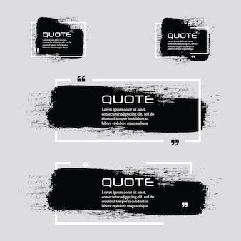 Citaat box frame, grote set. citaat vak pictogram. tekstvakjes voor sms'en lege grunge-borstelachtergrond.