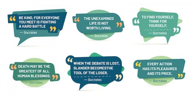 Citaat tussen aanhalingstekens. socrates-citaten, spraakstickers en badge-set met opmerkingen