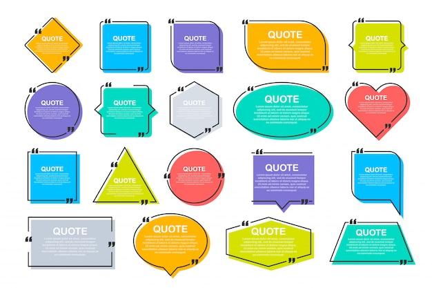 Citaatkaders instellen. lege sjabloon met print informatie ontwerp citaten.