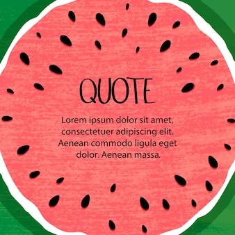 Citaten op een zomerse achtergrond van watermeloen. hallo zomer belettering en watermeloen.