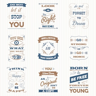 Citaten typografie retro set