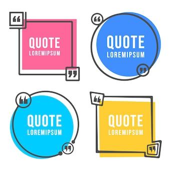 Citaten vormen en spraakbox geïsoleerd op een witte achtergrond.