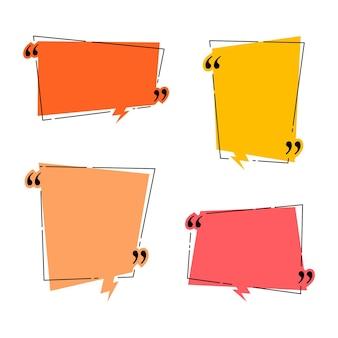 Citatenkaders voor dialoogvenstersjabloon voor ideeën en offertes