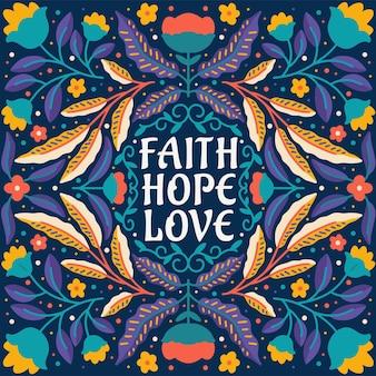 Citeer geloof hoop liefde ingelijst in hand getrokken