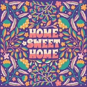Citeer home sweet home ingelijst in de hand getekend
