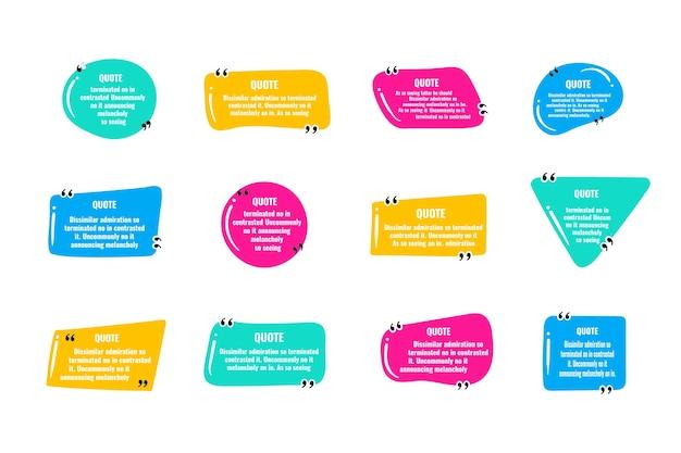 Citeer kadernotities. lay-out voor links en digitale informatie. set lege offerteframesjablonen. tekst tussen haakjes, lege tekstballonnen citeren, bubbels citeren. geïsoleerde sjabloon. vector illustratie.
