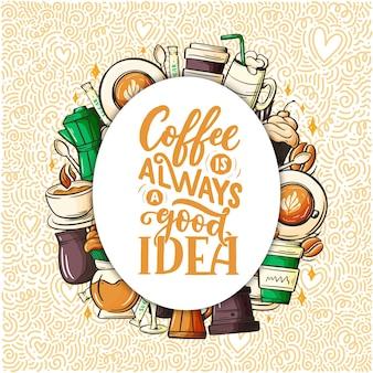 Citeer koffiekopje typografie