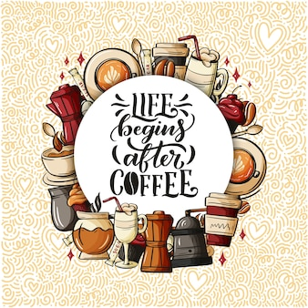 Citeer koffiekopje typografie.