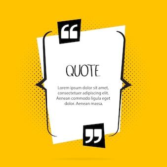 Citeer tekstballon. komma's, notitie, bericht en opmerking