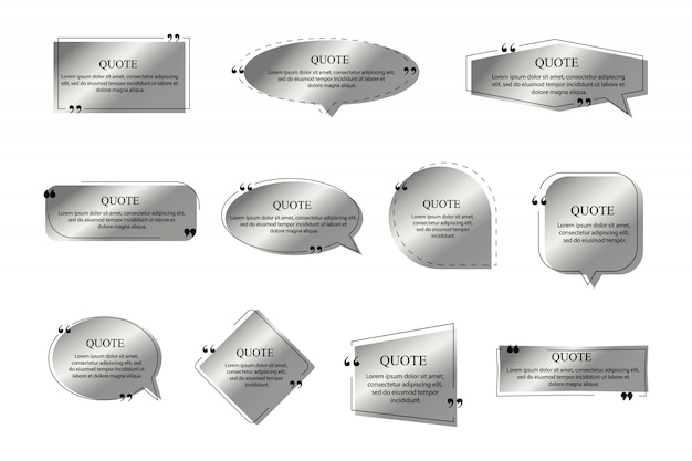 Citeert kaders van zilveren kleur op witte achtergrond. tekstvaksjabloon, citaat moderne citaat-tekstballon en dialoogvensters voor citaten van sociale netwerken.