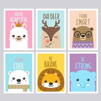 Citeert schattige dieren kaarten