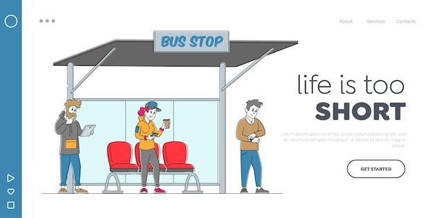 Citizen waiting city transport landing page template