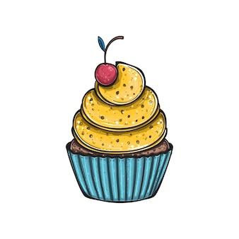 Citroen cupcake met kersen, geïsoleerd.