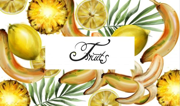 Citroen en ananas aquarel
