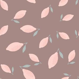 Citroen fruit naadloze doodle patroon in eenvoudige stijl. hand getekende roze vruchten achtergrond. voorraad illustratie. vectorontwerp voor textiel, stof, cadeaupapier, behang.