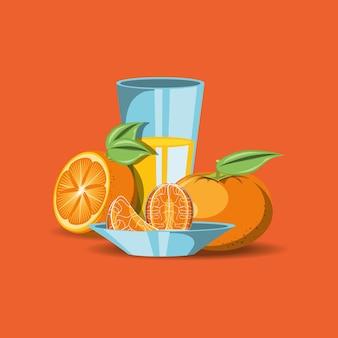Citroen fruit ontwerp met mandarijnen en sapglas pictogram