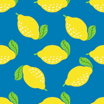 Citroen fruit patroon. naadloze zomer citrus patroon met citroenen, bladeren. tropische abstracte print op helderblauwe achtergrond. vector illustratie. vectorprint voor stof of behang.