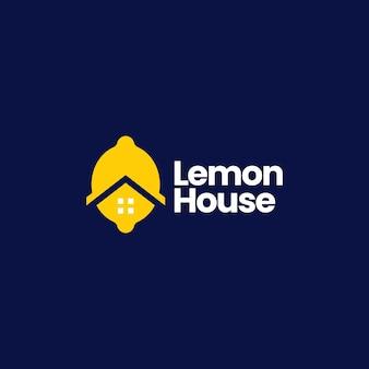Citroen huis huis hypotheek architectuur onroerend goed logo vector pictogram illustratie