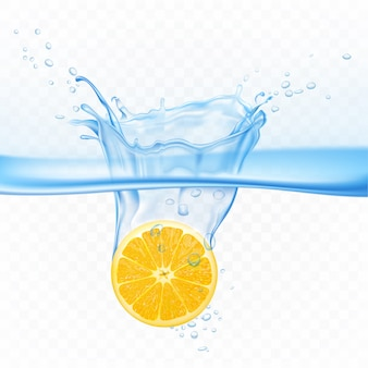 Citroen in waterplons explosie geïsoleerd op transparant. citrusvruchten onder aquaoppervlakte met rond luchtbellen. ontwerpelement voor sapdrank reclame realistische 3d vectorillustratie
