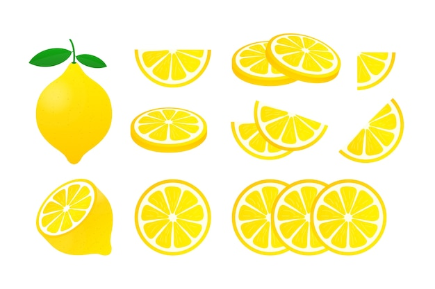 Citroen instellen. gele citroenillustratie op witte achtergrond.