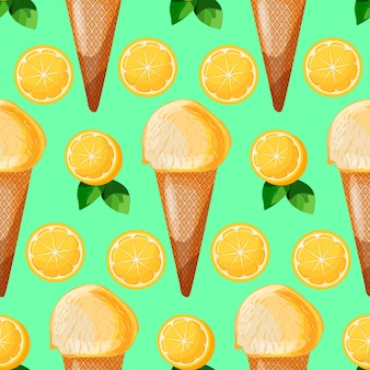Citroen munt ijsje naadloze patronen met plakjes citroen en groene bladeren