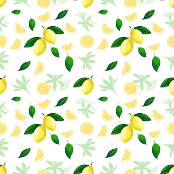 Citroen naadloos patroon. citroenen cocktail citrusvruchten textuur zomer gele verse herhalende achtergrond