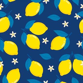 Citroen naadloos patroon op donkerblauwe achtergrond
