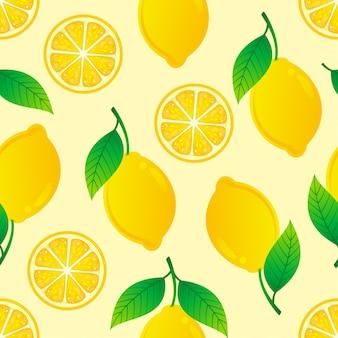 Citroen naadloos patroon op gele illustratie als achtergrond.