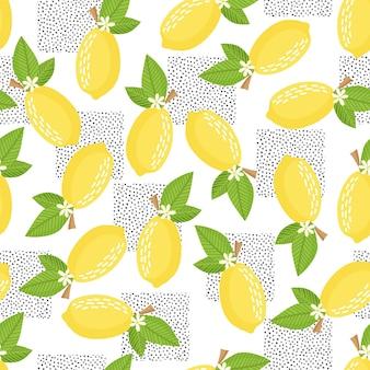 Citroen patroon. naadloze decoratieve achtergrond met gele citroenen. helder zomerontwerp. vector