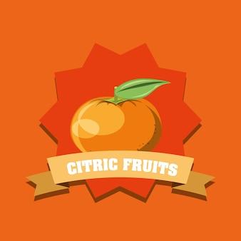 Citroenachtig fruitontwerp met decoratief frame en lint