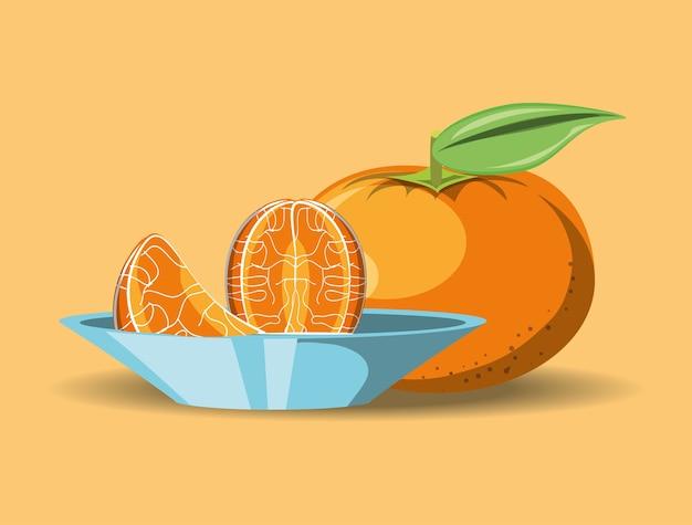 Citroenachtig fruitontwerp met mandarijn en schotel