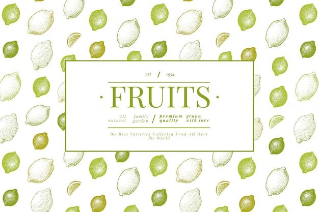 Citroenboom spandoeksjabloon. hand getrokken fruit illustratie.