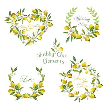 Citroenen, bloemen, bladeren banners en tags